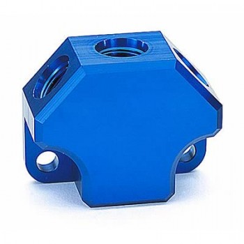 Magnafuel Fitting, Fuel Block, Billet Aluminum, Blue Anodized, One -8 AN Inlet, Three -6 AN Outlets